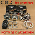 Farol do carro 3 polegadas Q5 Koito Bi-xenon hid Lente Do Projetor D1/D2/D3/D4 LHD + Projetor Máscaras + Bright LED Angel Eye Anel de Halo