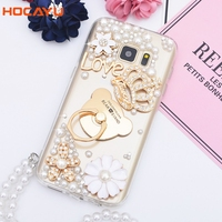 HOCAYU Clear Soft Tpu Mobile Phone Case with Shine Pearl Crown Metal Ring Holder for Samsung Galaxy S6S6 Edge S7S7 Edge for Girl