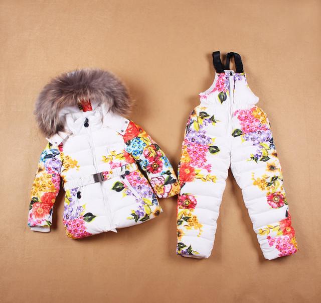 Russian Winter ! New 2016 Kids Girls Clothes Down Coats Overalls Warm Children Clothing Set Baby Girl Hooded Jacket + Trousers