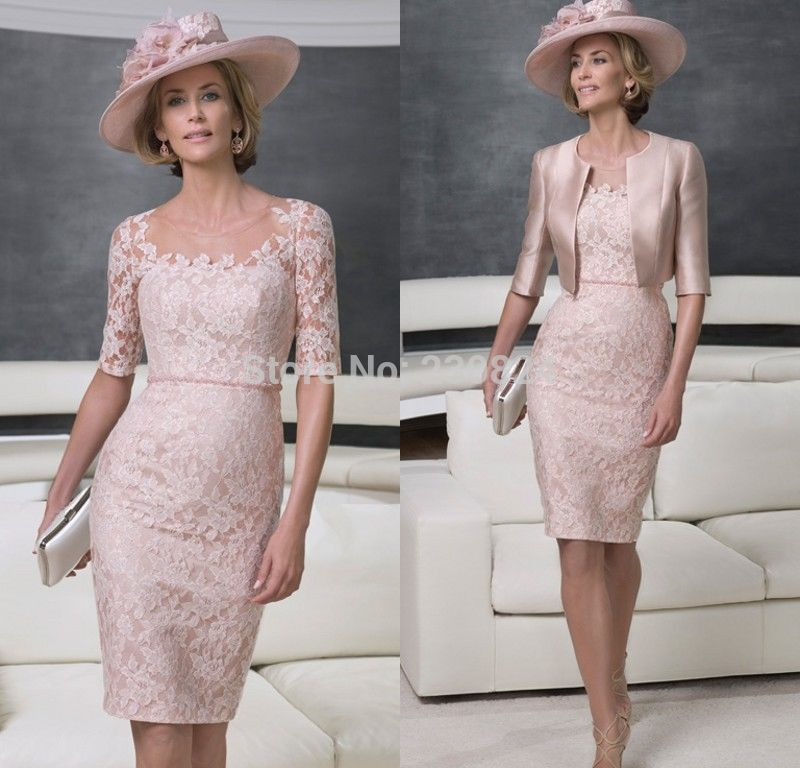Fashion Knee Length light pink lace Mother Of The Bride dresses ...