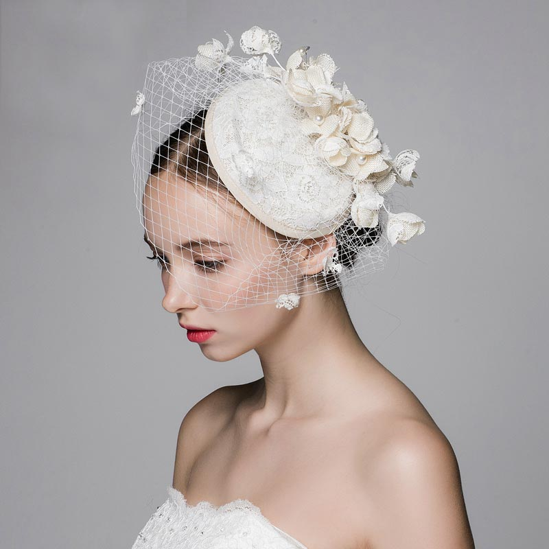 Original Design Ivory Beige Wedding Veil Hats With Pearl And Flower Decoration Romantic Party Small Bridal In Headwear From Weddings