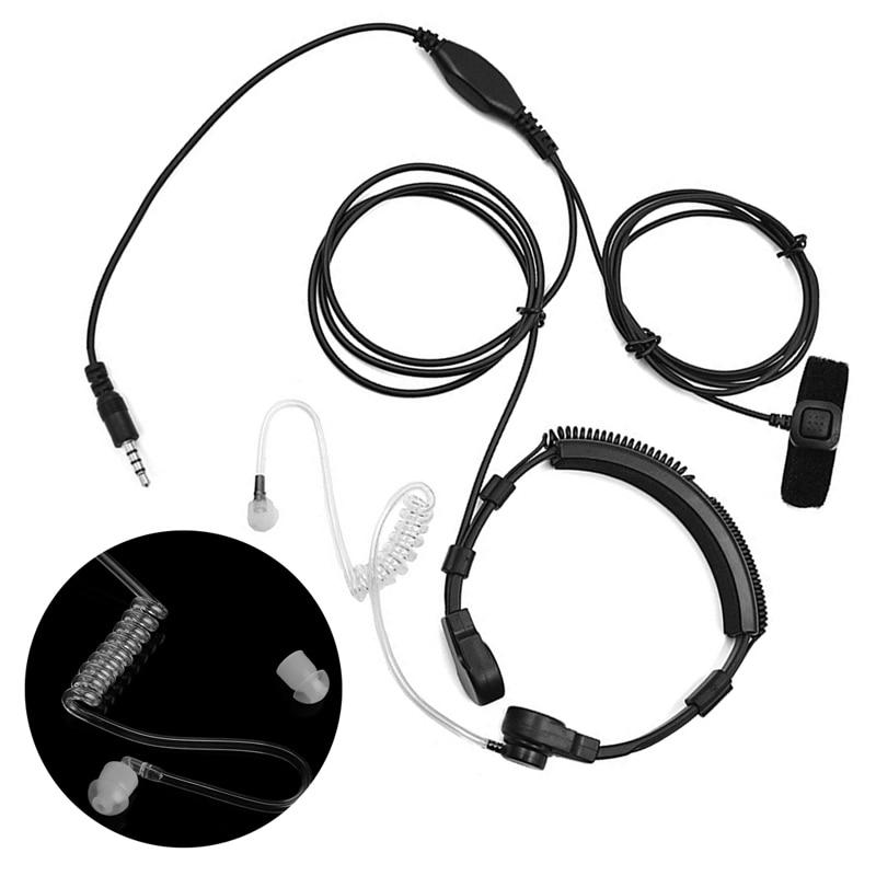 3.5mm Mobile Phone Throat Mic Earpiece Air Tube PTT Headset For Smart Phone