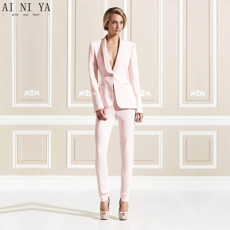 2 Piece Set Light Pink Ornate Women Business Suits Blazer Female Office Uniform Ladies Winter Formal Suits Formal Wedding Tuxedo