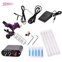 ATOMAS 1 set Completed Exquisite Workmanship Tattoo Kit Equipment Tattoo Machine 5 Needles and holders tattoo Power Supply Set