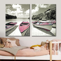 Drop shipping Modern Wall Art Canvas Landscape Poster Nordic Wall Picture for Living Room Boat Sea Canvas Painting Unframed 2pcs