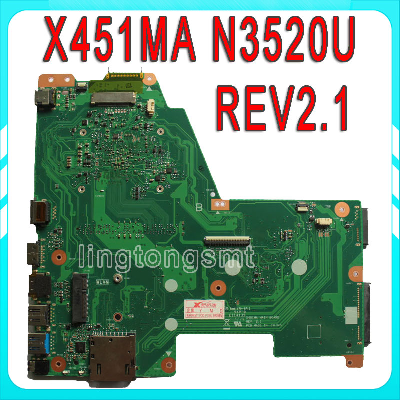 цена Original For ASUS X451MA Laptop motherboard X451MA Main board REV2.1 N3520CPU 100% fully tested