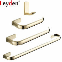 Leyden 4pcs Bathroom Accessories Set Gold Brass Single Towel Bar Ring Holder Toilet Paper Clothes Hook