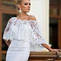 Novos Apliques de Renda Elegante Jaqueta de Casamento Branco de Moda Fora Do Ombro Mulheres Xailes Acessórios Do Casamento Wraps De Noiva Bolero