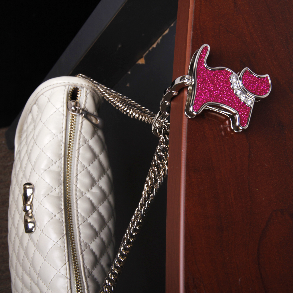 New Hot Sale Hot Unisex Table Cat Foldable Purse Bag Rhinestone Hanger Hangbag Hook Holder Safer Gift Favor for Home Decoration