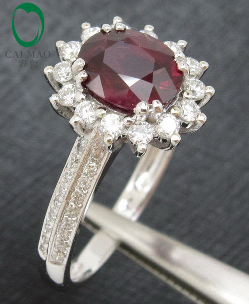 Caimao Wholesale 1.10CT Blood Red Ruby 14kt White Gold Natural Diamond Wedding Ring Free shipping
