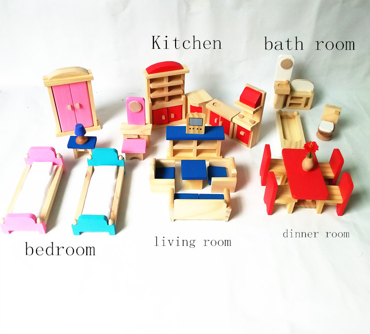 living room bedroom bathroom kitchen 5set lot doll house mini furniture set kitchen dinner 18975