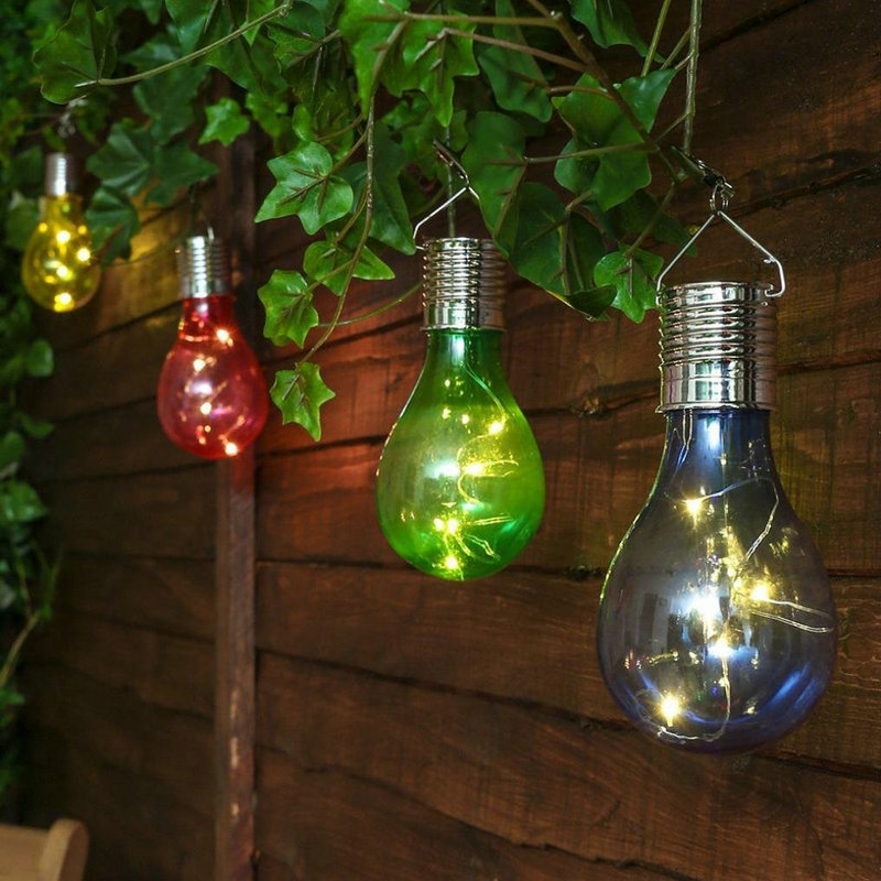 Solar charger Lamp LED Bulb Wireless Rotatable Waterproof Outdoor Garden Tree Hanging Decoration solar stake lights colorful in LED Night Lights from Lights Lighting
