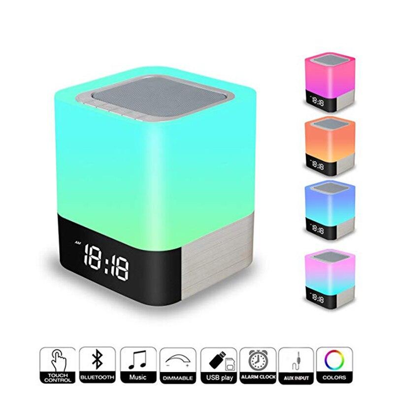 Tragbare Bluetooth Lautsprecher Led Nacht Licht Lampe Mit Led Display Freisprecheinrichtung Wecker Micro Sd Karte Für Smart Telefon Mp3 Ipad üBerlegene Leistung