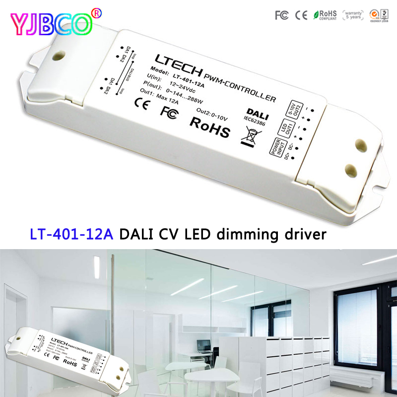 LT-401-12A;led Constant Voltage PMW DALI Dimming Driver;DC12-24V Input 12A*1CH+0-10V*1CH Output for led strip din 411 12a dali to pwm cv dimming driver din rail screw dual use dc12 24v input 12a 1ch 0 10v 1ch output