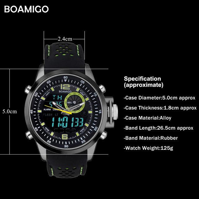 men sports watches military digital watches dual display analog LED quartz watch BOAMIGO brand male 30M waterproof wristwatches