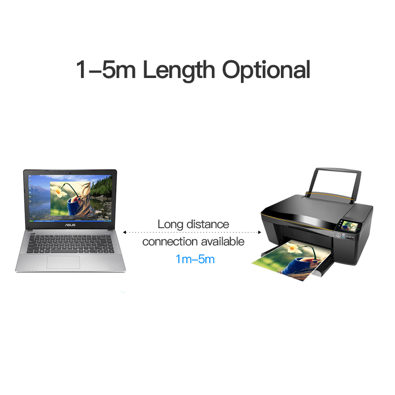 vention usb 2.0 type a male to b male cable to sync data in scanner and usb printer