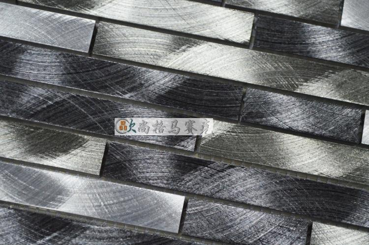 aluminum alloy metal strip mosaic tiles HMM1001B for backsplash kitchen  wall sticker bathroom floor tile free