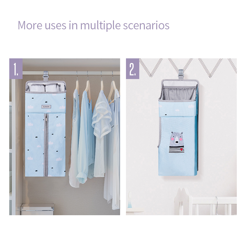 SUNVENO portátil cuna bebé organizador colgando cama de bebé pañal de cuna bolsa de ropa de cama conjunto - 4