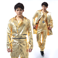 Fashion long design Male singer slim gold leather jackets rock DJ ds gold stage costumes
