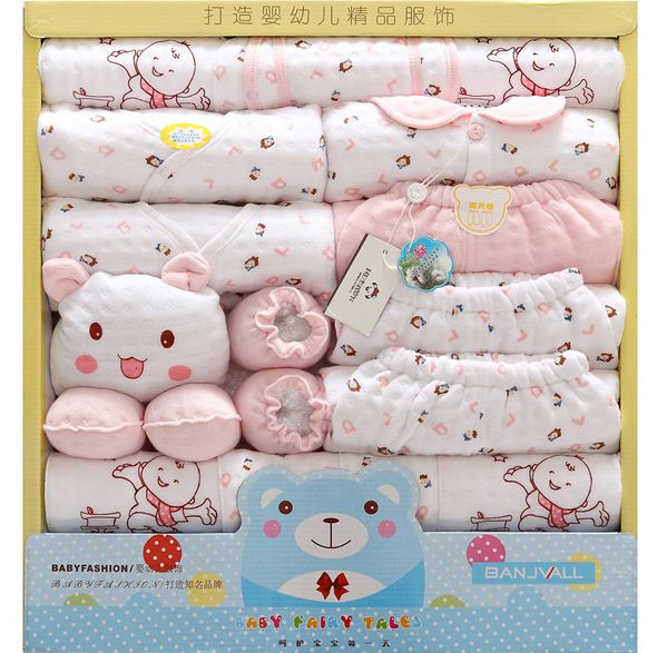 19 Pcs/Set Cotton Newborn Baby Girl Clothes Autumn Winter Baby Boy Clothing Set Cartoon Print New Born Baby Clothes Outfit Gift 2pcs set baby clothes set boy
