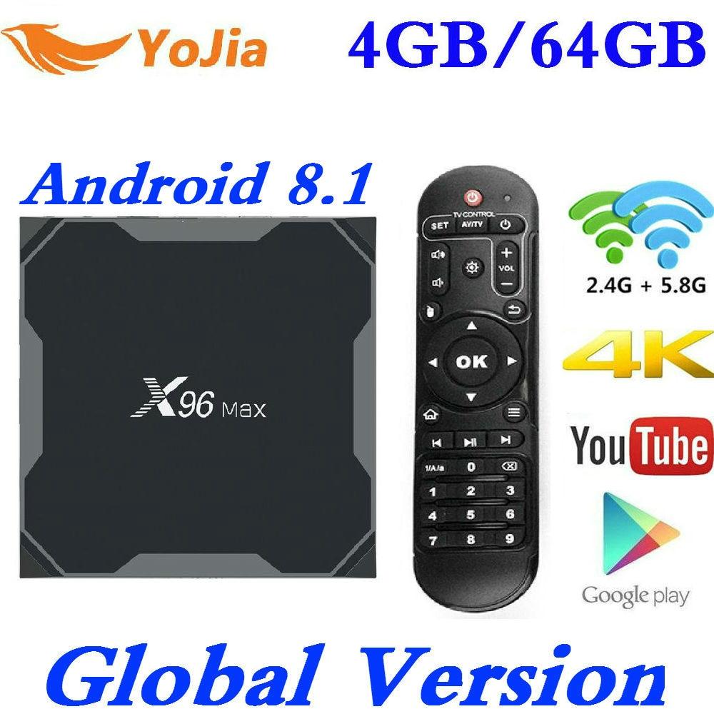 Android 8.1 TV Box X96 Max Amlogic S905X2 4 K lecteur multimédia 4 GB RAM 64G X96Max QuadCore 2.4G & 5G double Wifi pk T9 H96 MAX Plus
