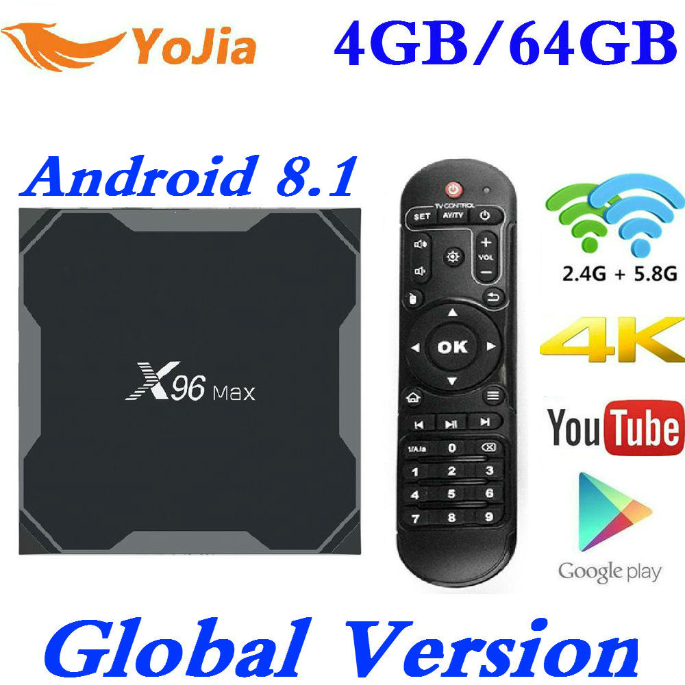 Android 8,1 caja de TV X96 Max Amlogic S905X2 4 K Media Player 4 GB RAM 64G X96Max DDR4 QuadCore 2,4G y 5G Dual Wifi pk T9 H96 MAX Plus
