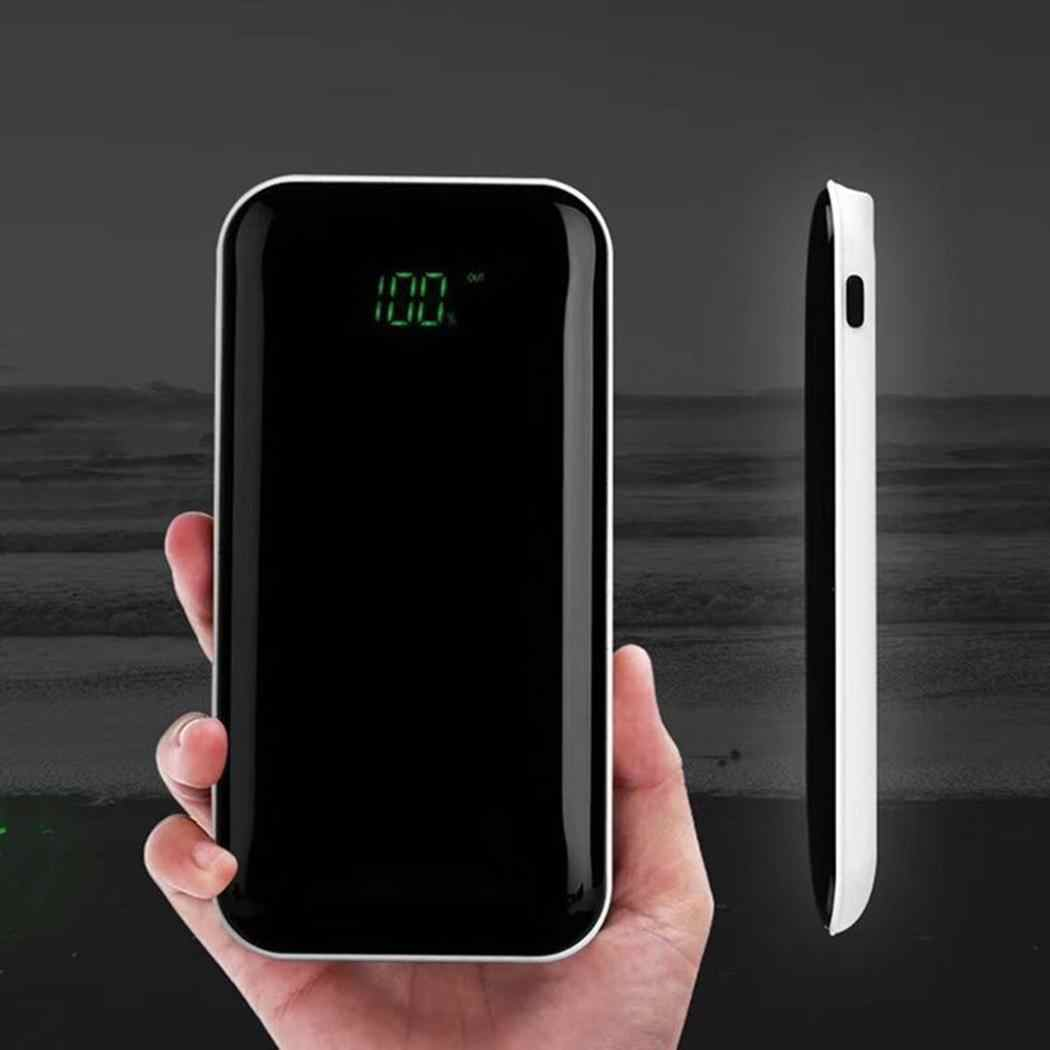 Portable Power Bank Case 18650 Dual USB Ports Digital Display Mobile Power Bank Case External Battery DIY Shell For iPhone Black