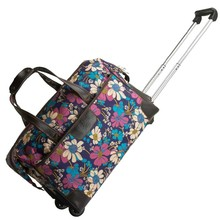 valiz bag free shipping women and men travel bag,waterproof Blue flowers trolley case, new style, travel luggage, lock, mute,