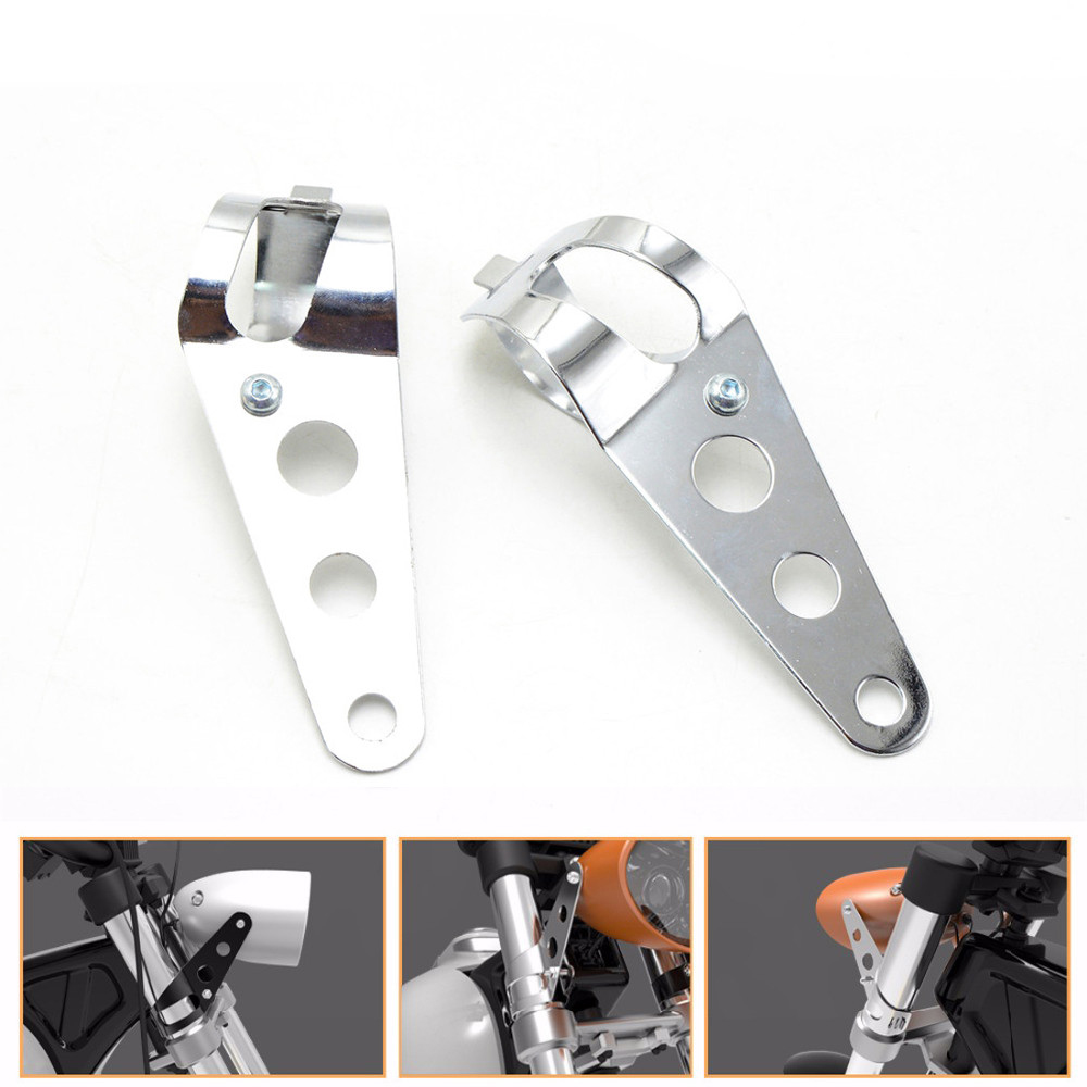 Universal motorcycle accessories 35mm-43mm headlight mount bracket chrome head light lamp holder adjuster fork mount clamp