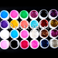 New 24 Pots/Set Pure Solid Color Big Glitter Glittery colored UV Gel For Nail Art Tips Extension Nail Gel French Manicure