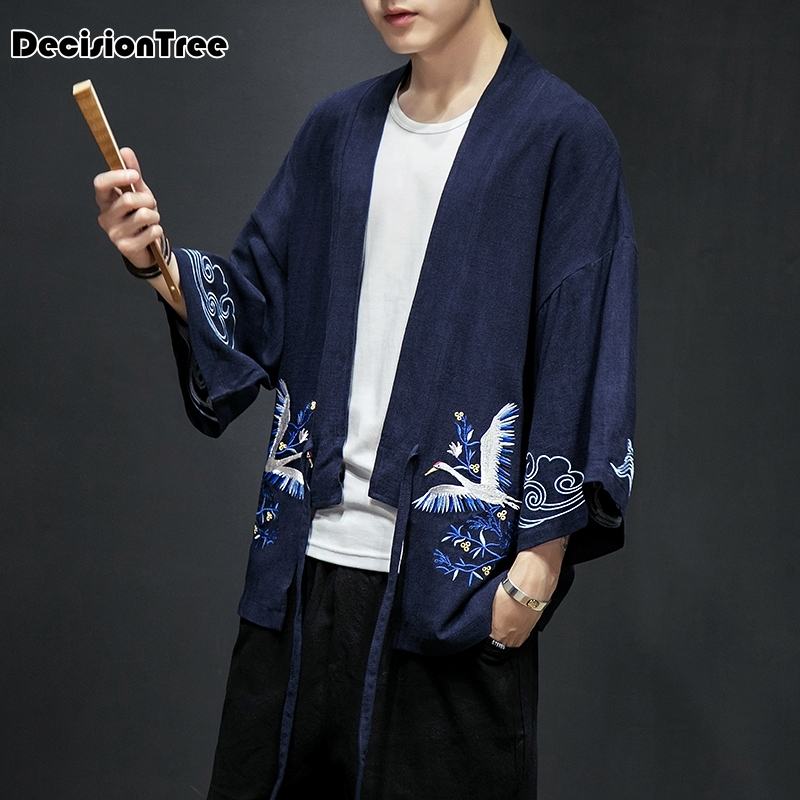 2019 Kimono Jackets Men Terry Material Cotton Heather Grey High Street Men's Jackets Male Clothing