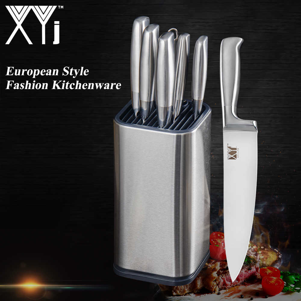 XYj Best Kitchen Knife Set & Knife stand Sharpener Kitchen Knives Kits Chef Cooking Utility Set 3cr13 Stainless Steel Blade Gift