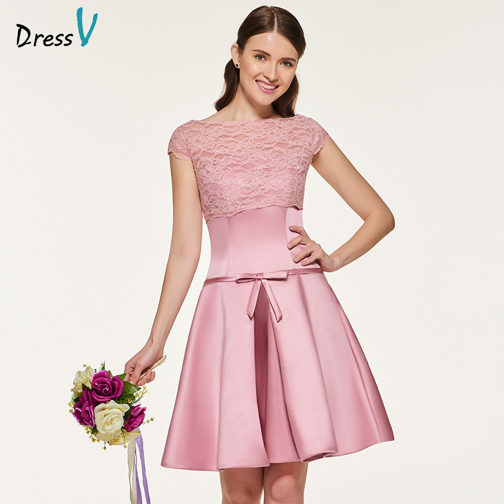 Elegant Lace Sleeve Short Wedding Dresses 2016 Scoop Neck: Aliexpress.com : Buy Dressv Elegant Scoop Neck A Line