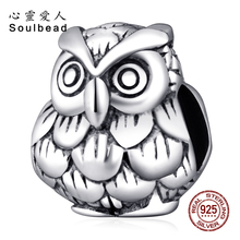 ФОТО soulbead antique 925 sterling silver european owl charms beads wholesale fit pandora bracelet for birthday gift ss2247