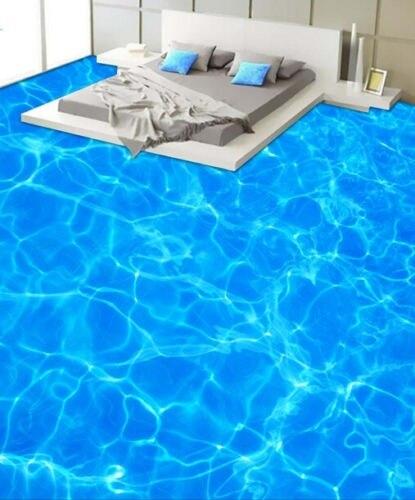 [Self-Adhesive] 3D Sparkling Blue Sea 44 Non-slip Waterproof Photo Self-Adhesive Floor Mural Sticker WallPaper Murals Wall Print