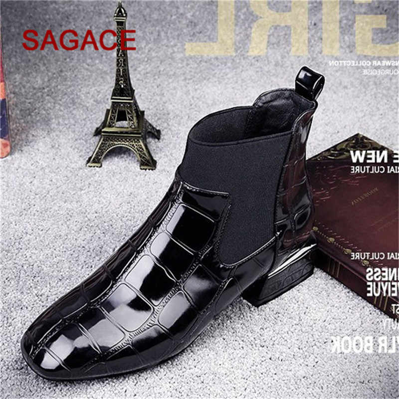 1ee0285fcf5 HB@SAGACE Boots Women Square Toe Thick Heel Slip On Boots Casual Patent  Leather Shoes