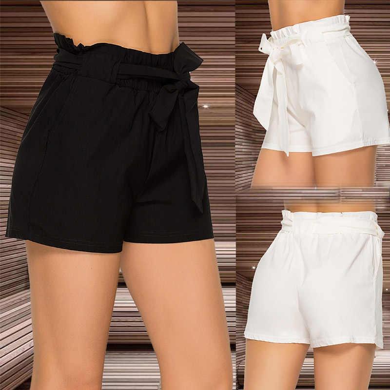 Lato na co dzień luźne spodenki kobiety bandaż pasek na co dzień szorty wysokiej talii lato stylowe krótkie spodnie dla kobiet