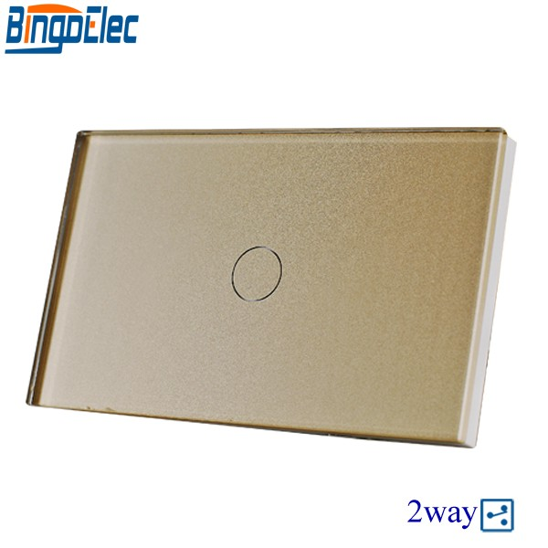 Bingoelec Gold Crystal Toughened panel 1gang 2way Touch Switch,2way Stair Light Switch, US/AU Standard, AC110-250V, Hot Sale 2gang 2way white crystal toughened glass panel touch switch sensor light switch