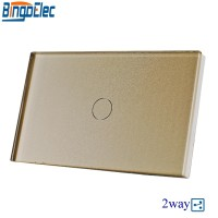 Bingoelec Gold Crystal Toughened Panel 1gang 2way Touch Switch 2way Stair Light Switch US AU Standard