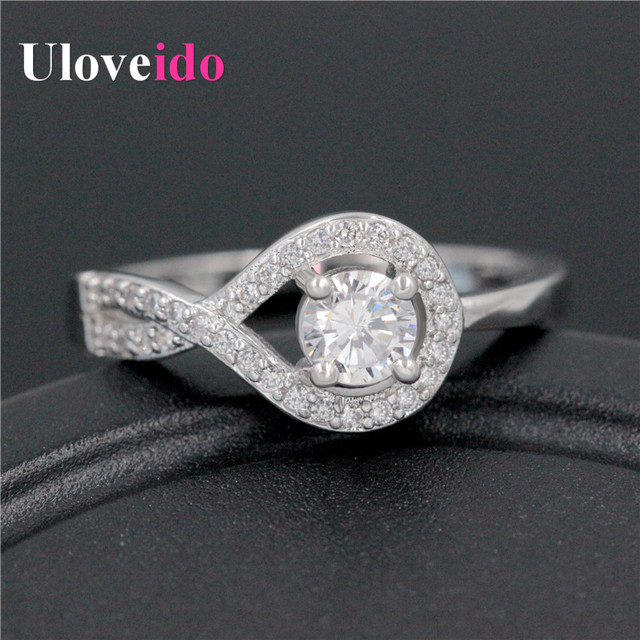 Cute Silver Bijoux Crystal Zircon Engagement Rhinestones Ring For Girls 2016 Womens Jewelery Rings Female Bisuteria Joias WX022