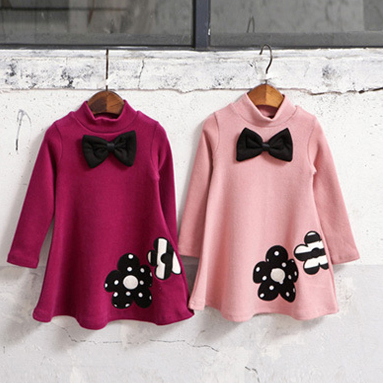 Girls Autumn winter thick dress fashion Pure cotton velvet Embroidered Princess Dress Butterfly Tie turtleneck baby kids clothes
