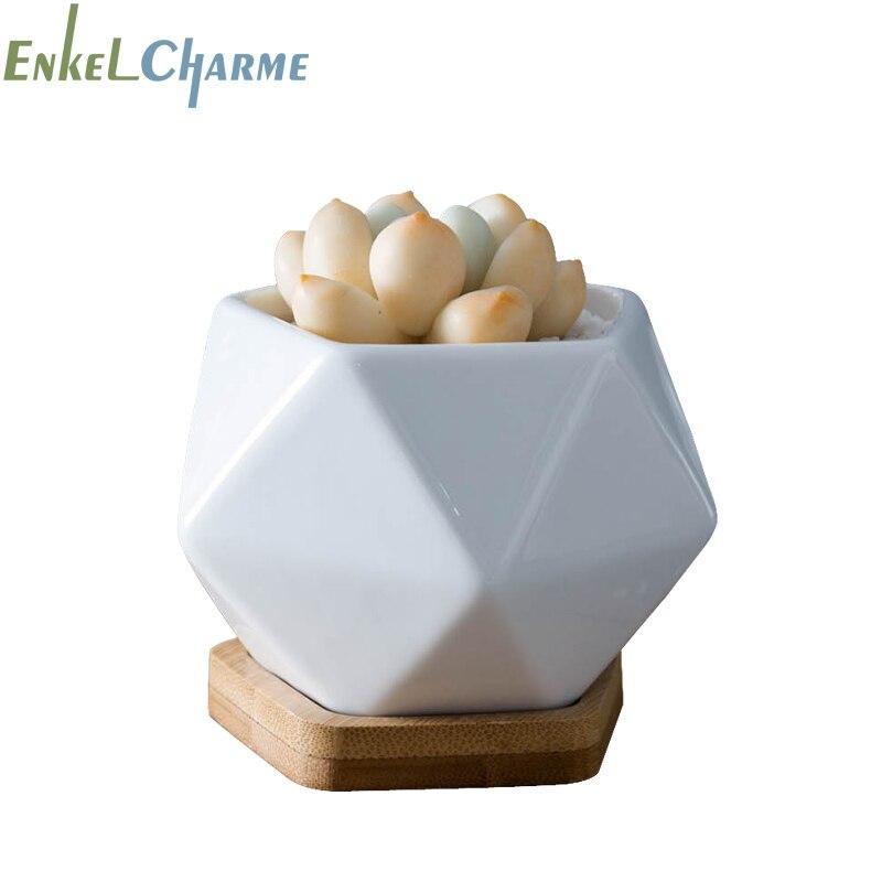 Modern Geometic Pentagon White Ceramic Bonsai Planter Succulent Flower Pots  Bamboo Tray Desktop Decorative Cactus Flowerpot Flower Pots & Planters    - AliExpress
