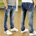 2016 Outono novas crianças de jeans da moda estilo com zíper decoração crianças meninos jeans para 4 a 10 anos de idade B082