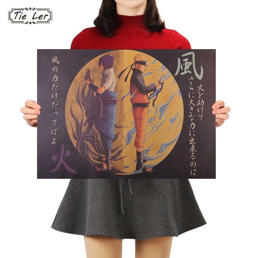 TIE LER Japanese Anime Naruto Vintage Kraft Paper Poster Bar Cafe Decorative Painting Wall Sticker 50.5X35cm