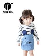 цена на 2019 Summer Girls Long Sleeve Appliques Dress Baby Kid Cute Jeans Dresses Children Clothing Casual Stripe A-line Princess Dress