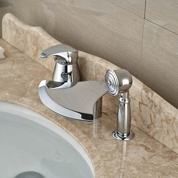 Deck Mounted Chrome Brass Bathroom Tub Faucet 3 pcs W/ Hand Shower Diverter  цена и фото