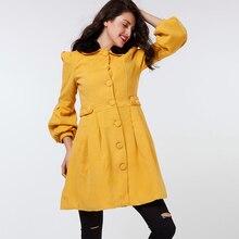 Abrigo elegante de mujer con cuello de piel amarilla mezcla de lana para  exteriores manga larga de farol para mujer Oficina Shur. 8afea4475a28