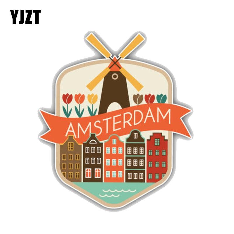 YJZT 10.8CM*13CM Amsterdam City Netherlands Travel PVC Motorcycle Car Sticker 11-00259
