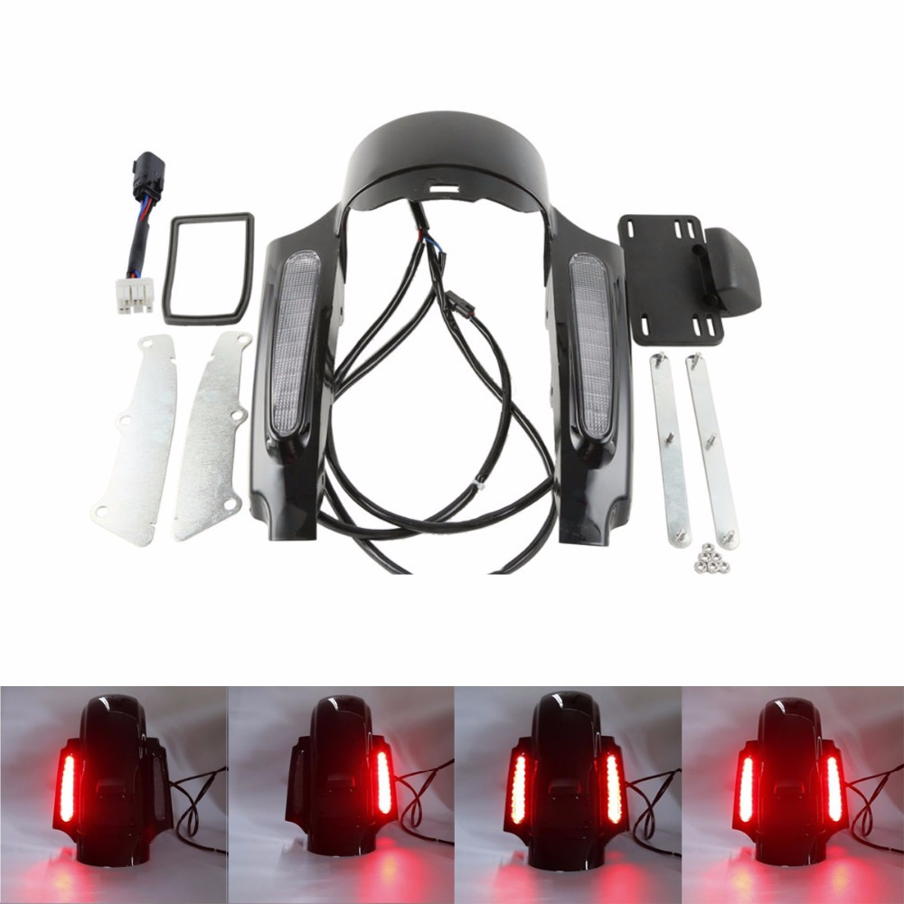 Smoke LED Light Rear Fender Fascia Set For Harley Touring Road King Street Electra Glide FLHX Red light FLHR FLHT FLTRU FLHTCU adjustable 1 2 inches lowering kit for harley touring road king electra street glide flhx flht 2002 2016