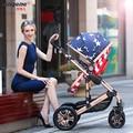 Детские коляски высокого пейзаж тележки можно сидеть и лежать двусторонний четыре колеса ударопрочный портативный складной коляски BB
